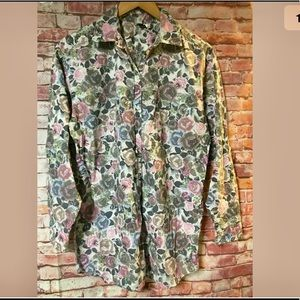 Distressed floral button down shirt size 8 Boho